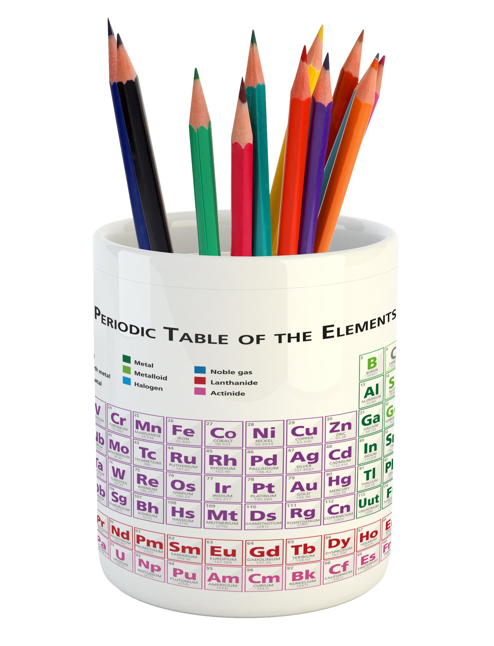 Ambesonne Science Pencil Pen Holder, Chemistry Primary School Students Geek Nerd Lessons Classes Smart Kids Art Print, Printed Ceramic Pencil Pen Holder for Desk Office Accessory, Multicolor