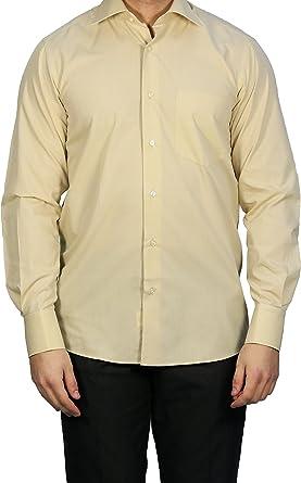 Muga combinado Puños Camisa de hombre, mostaza Beige, tallas ...