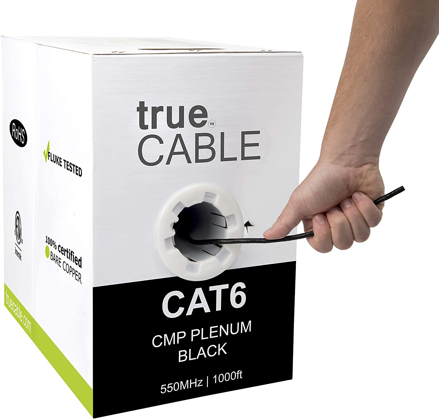Unshielded Twisted Pair CMP 550MHz 23AWG UTP White /& Black Color Cat6 Plenum Available in Blue Bulk Ethernet Cable 100/% Solid Bare Copper Cat6 Outdoor Black 1000ft
