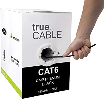White UTP No Spline Solid Bare Copper Plenum Rated CMP 1000ft 4 Pair CAT6E 550MHz Cable