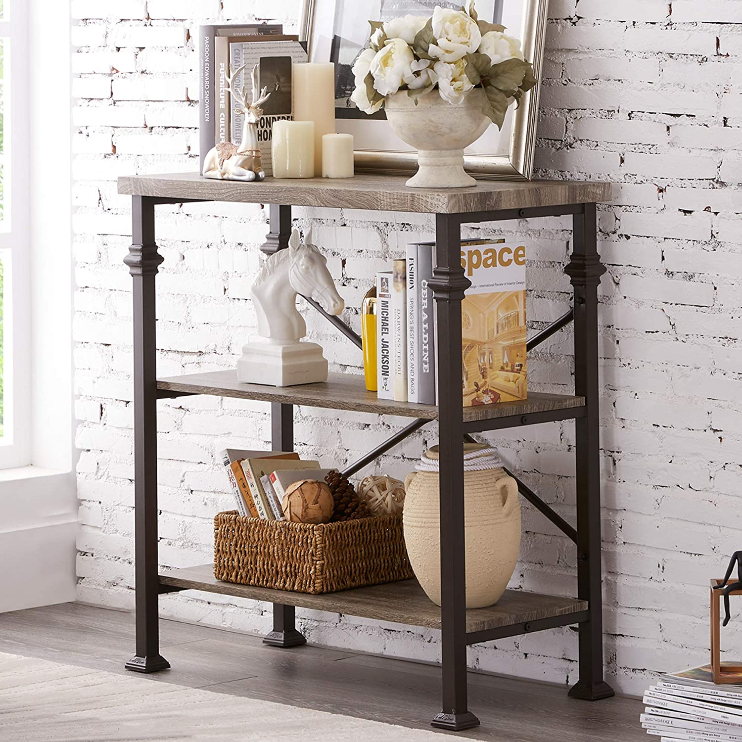 Image of Hombazaar 3-Tier Bookshelf, Rustic Industrial Style Bookcase Furniture, Free Standing Storage Shelves for Living Room Bedroom and Kitchen, Grey Oak Home and Kitchen