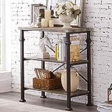 Hombazaar 3-Tier Bookshelf, Rustic Industrial Style Bookcase Furniture, Free Standing Storage Shelves for Living Room Bedroom