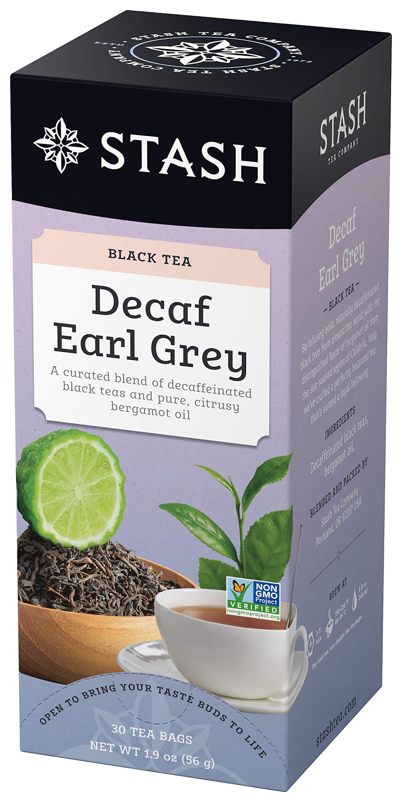 Stash Tea Decaf Earl Grey Black Tea 30 Count Tea Bags in Foil (Pack of 6) Individual Decaffeinated Black Tea Bags for Use in Teapots Mugs or Cups, Brew Hot Tea or Iced Tea