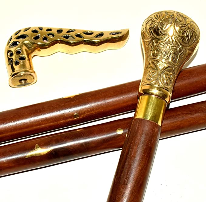 Brass Handle Wooden Walking Stick Cane Vintage Style Gift Vintage Aligator Cane