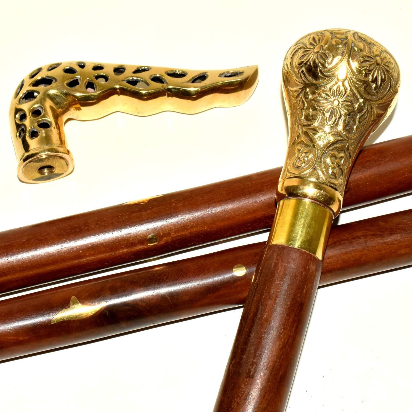 Brass designer vintage style walking stick brass handle wood brass inlay cane .1