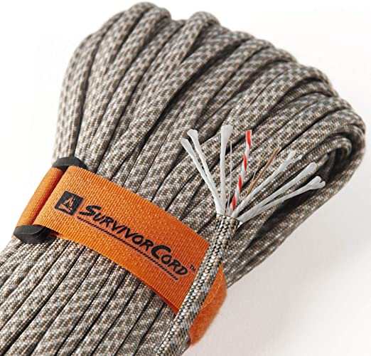 WILDAIR Paracord Survival Paracord Parachute Fire Cord Survival Ropes 4-in-1 5//32 Diameter U.S Fire-Starter Tinder Military Type III with Integrated Fishing Line