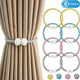 8 Pieces Magnetic Curtain Tiebacks Clips Window Tie Backs Holders for Home Office Curtain Decoration Faux Pearl Ball Rope Holdbacks, 18.5 Inches
