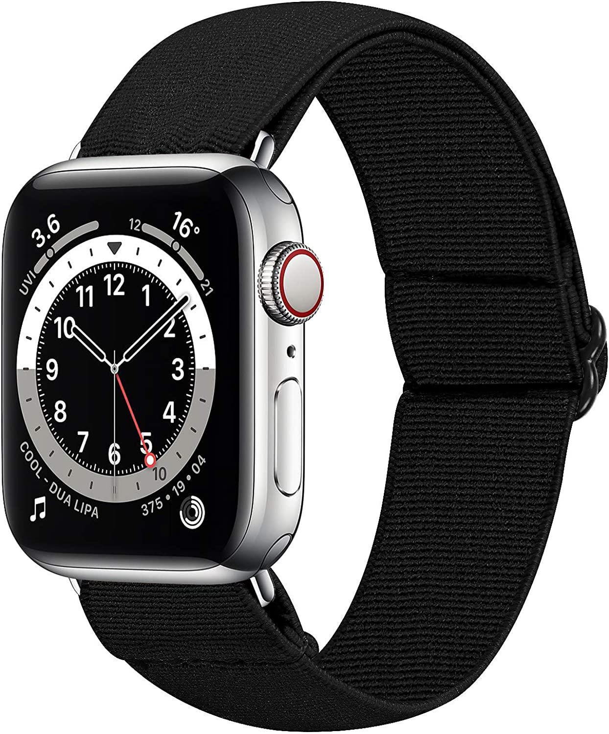 HAYUL Stretchy Nylon Bands Compatible with Apple Watch Bands 38mm 40mm 42mm 44mm, Adjustable Sport Elastics Women Men Wristband for iWatch Series 6/5/4/3/2/1 SE (Black, 38/40mm)