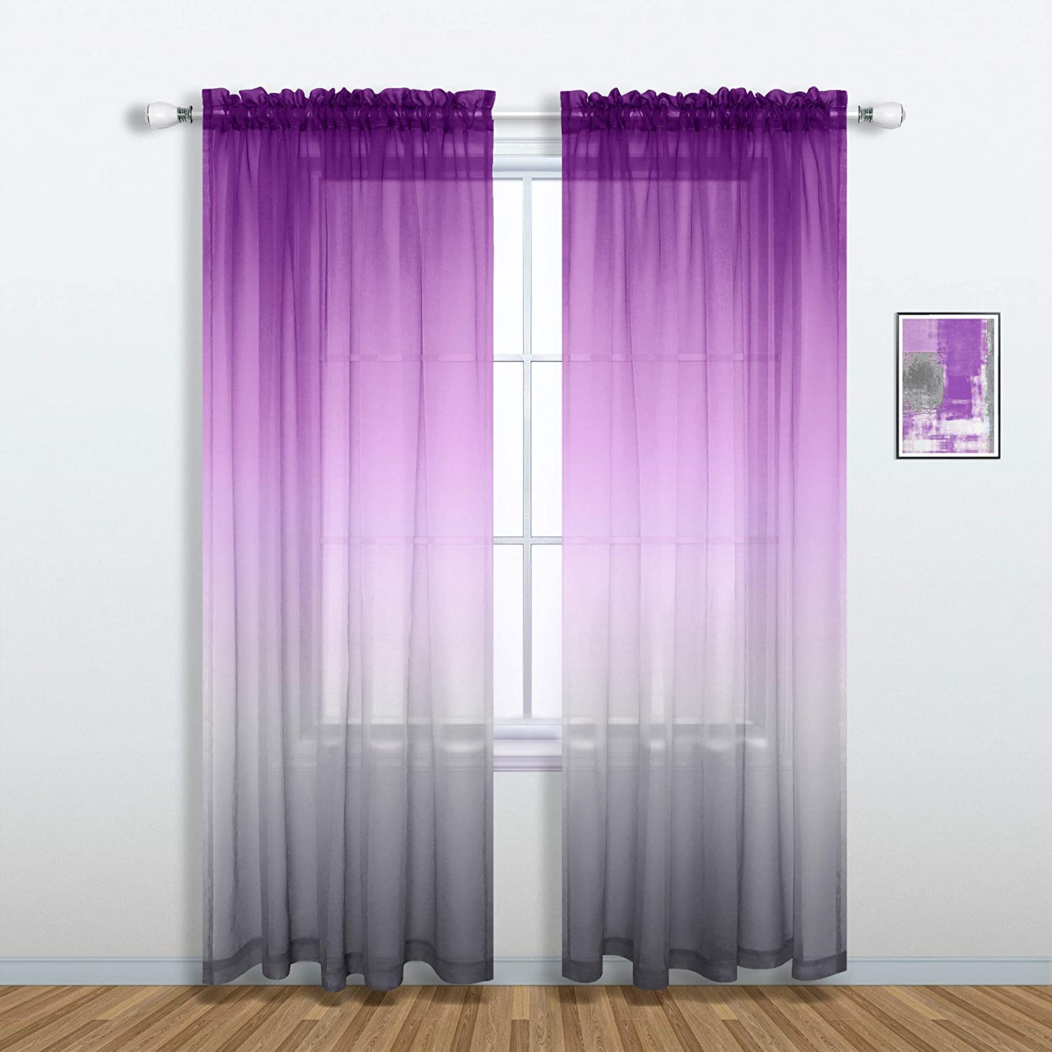 Purple and Grey Curtains for Living Room Decor Set of 1 Single Sheer Window Panel Pocket Ombre Luxury Curtains for Bedroom Kids Girls Women Decorations 52 x 84 Inch Length Royal Lilac and Gray