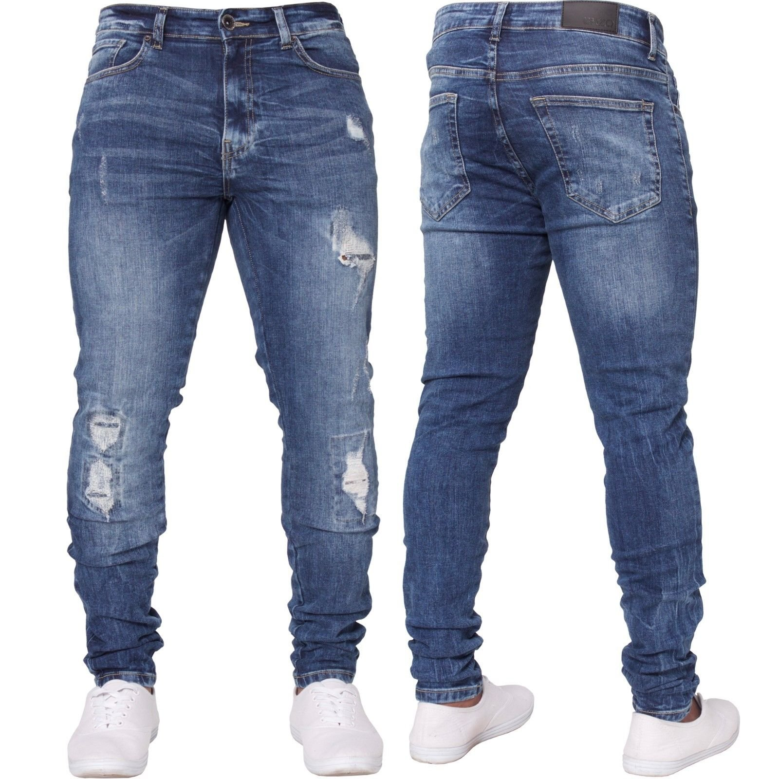 SySea Mens Ripped Long Skinny Slim Fit Jeans Comfy Stretch Fashion Biker Jean Pants With Holes