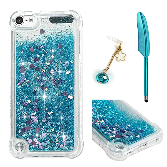 buy popular beab4 10379 iPod Touch 5 Case, Touch 6 Liquid Case,Glitter Bling Sparkle Flowing Case  for iPod Touch 5/6 Transparent Shockproof TPU Protective Cover with Sylus &  ...