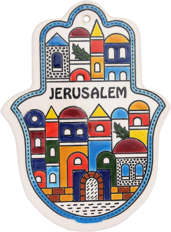 Armenian Ceramic Decorative Hamsa Wall Decor Jerusalem (5.31x3.93 inch) Light Blue Border