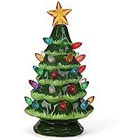 Milltown Merchants Ceramic Christmas Tree - Tabletop Christmas Tree Lights - Lighted Vintage Ceramic Tree