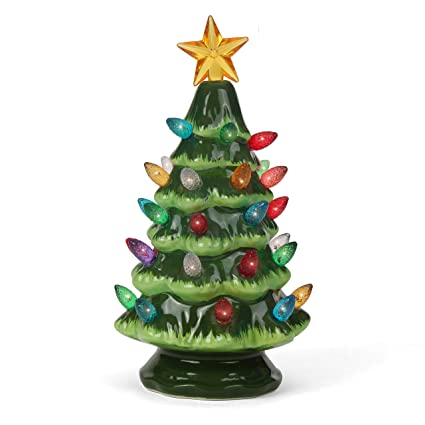 Amazon.com: Ceramic Christmas Tree - Tabletop Christmas Tree Lights -  (6.75
