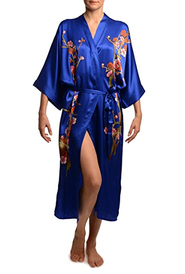 d6616c287e Blue with Sakura Bloom Luxurious Silk Dressing Gown (Robe) - Blue Floral  Dressing Gown  Amazon.co.uk  Clothing
