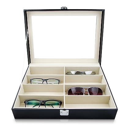 Grinscard Estuche para Gafas para almacenar 8 anteojos - Blanco 34 x 25 x 9 cm - Gafas de Sol Presentación Gafas Pantalla