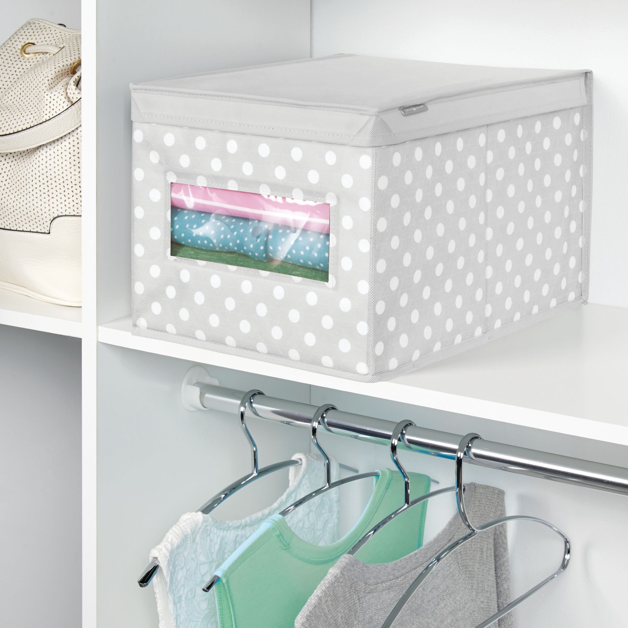 mDesign Soft Stackable Fabric Closet Storage Organizer Holder Box - Clear Window, Attached Hinged Lid, for Child/Kids Room, Nursery - Polka Dot Pattern - Large, Pack of 2, Light Gray with White Dots by mDesign (Image #3)