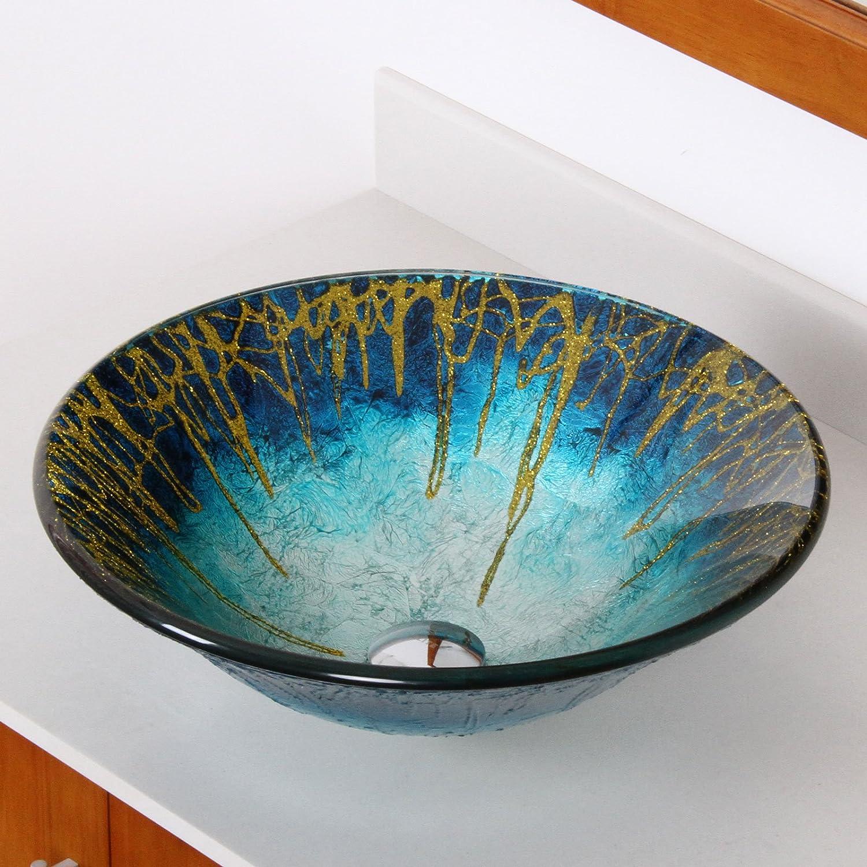 ELITE Modern Design Unique Color Tempered Bathroom Glass Vessel Sink for Vanity