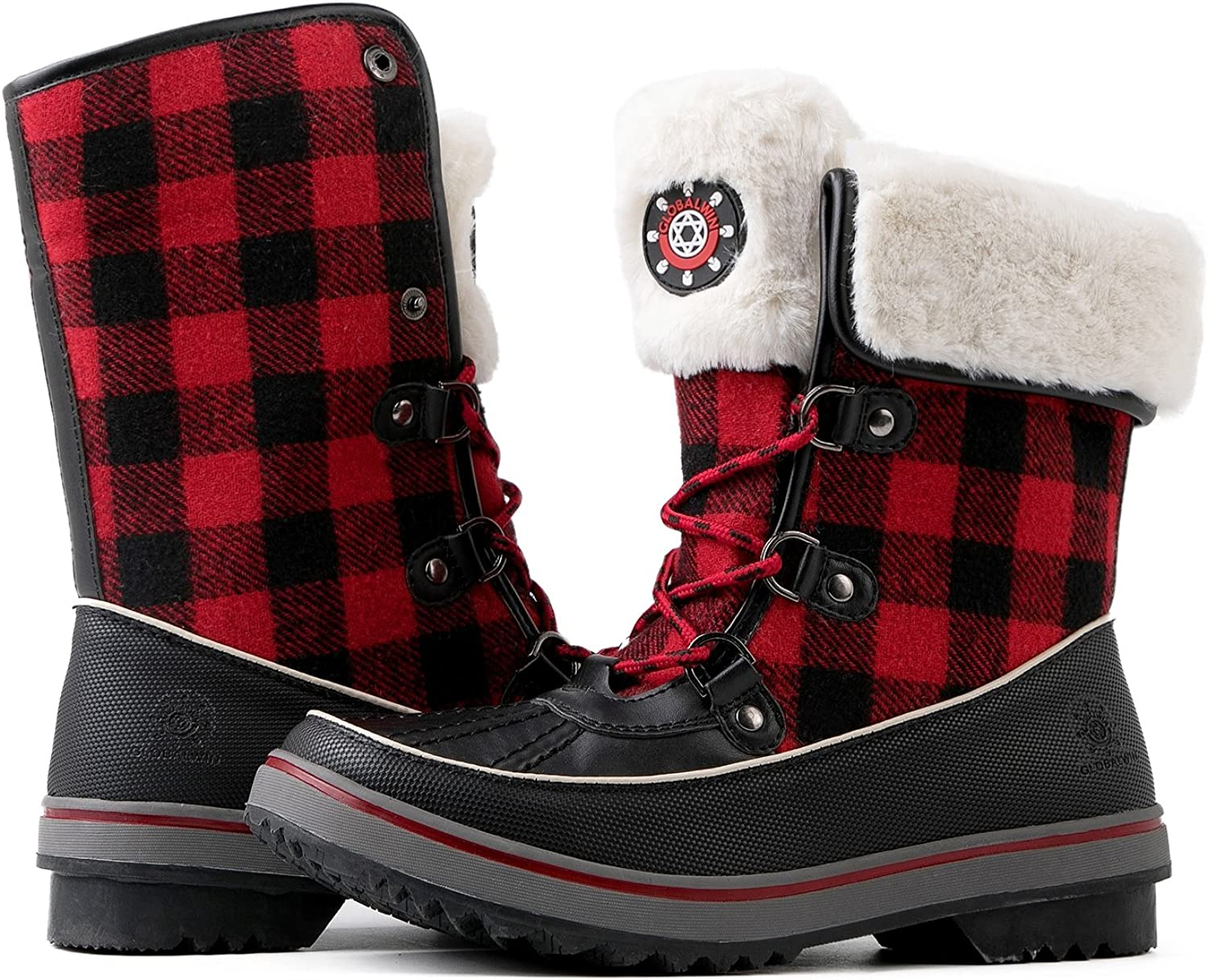 Red Plaid Winter Snow Boots 6.5M
