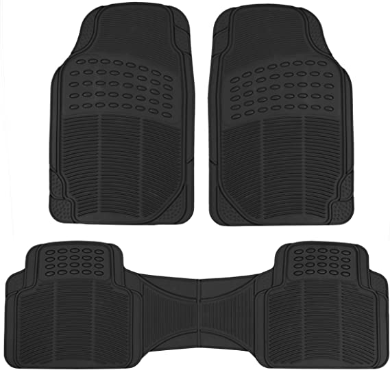 BDK MT783PLUS Black ProLiner Original 3pc Heavy Duty Front & Rear Rubber Floor Mats for Car SUV Van & Truck
