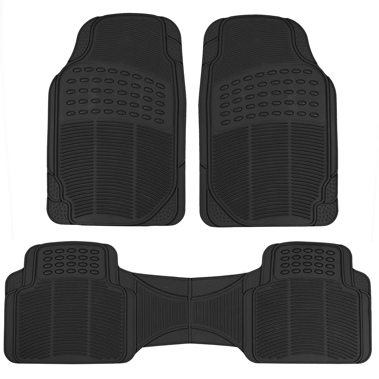 BDK MT783PLUS ProLiner Original 3pc Heavy-Duty Front & Rear Rubber Floor Mats for Car SUV Van & Truck - All Weather Protection Universal Fit (Black)