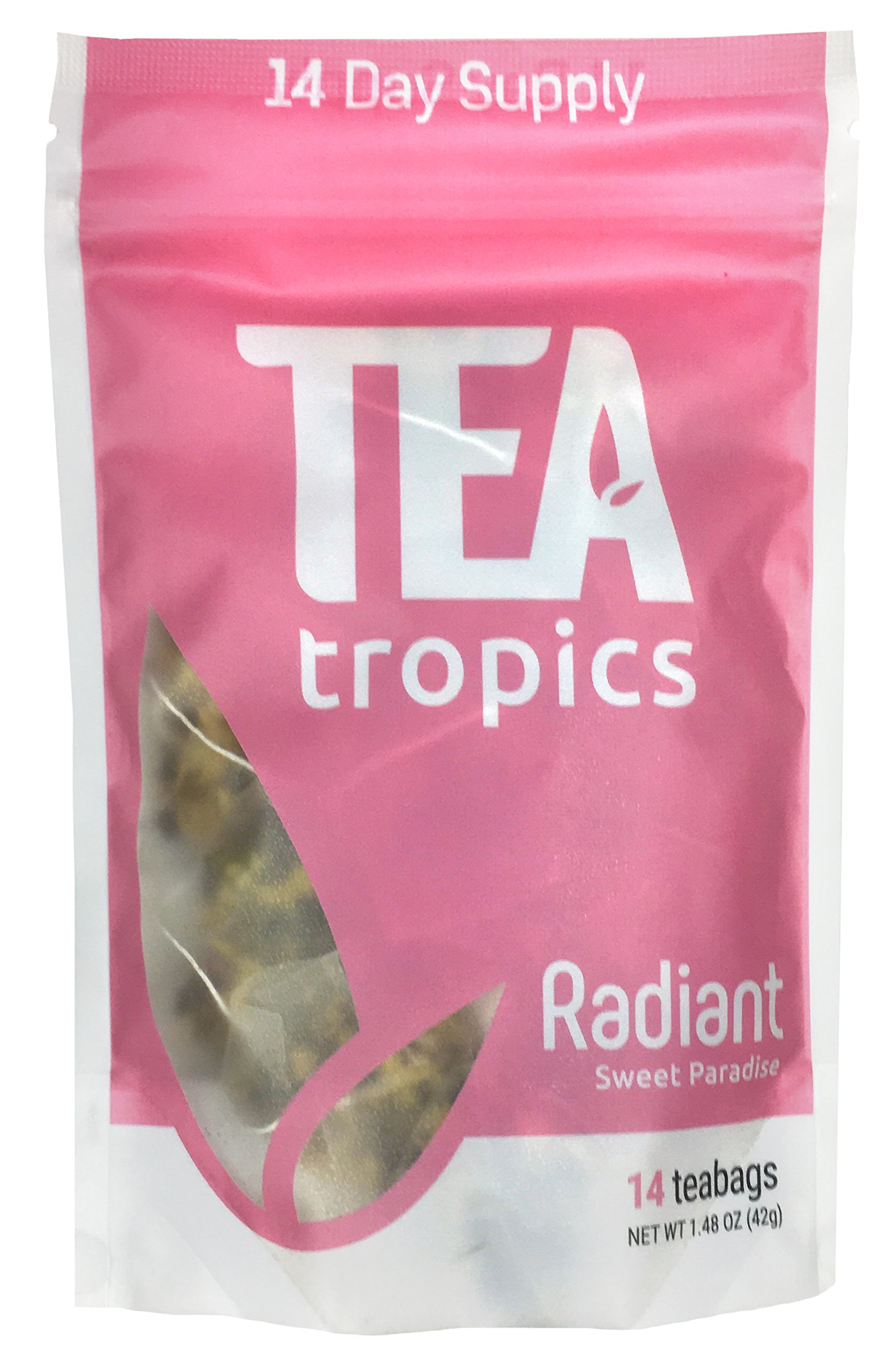 Tea Tropics 14 Day Radiant Tea   Promotes Healthy Hair, Skin, & Nails   Anti Aging Formula for Acne & Wrinkles   Natural Supplement   14 Biodegradable Pyramid Tea Bags