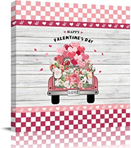 "Canvas Prints Wall Art Paintings with Framed 28""x 28"" Valentine's Day Truck Carrying Flowers and Love Prints Wall Art for Home Living Room Decor,Ready to Hang"