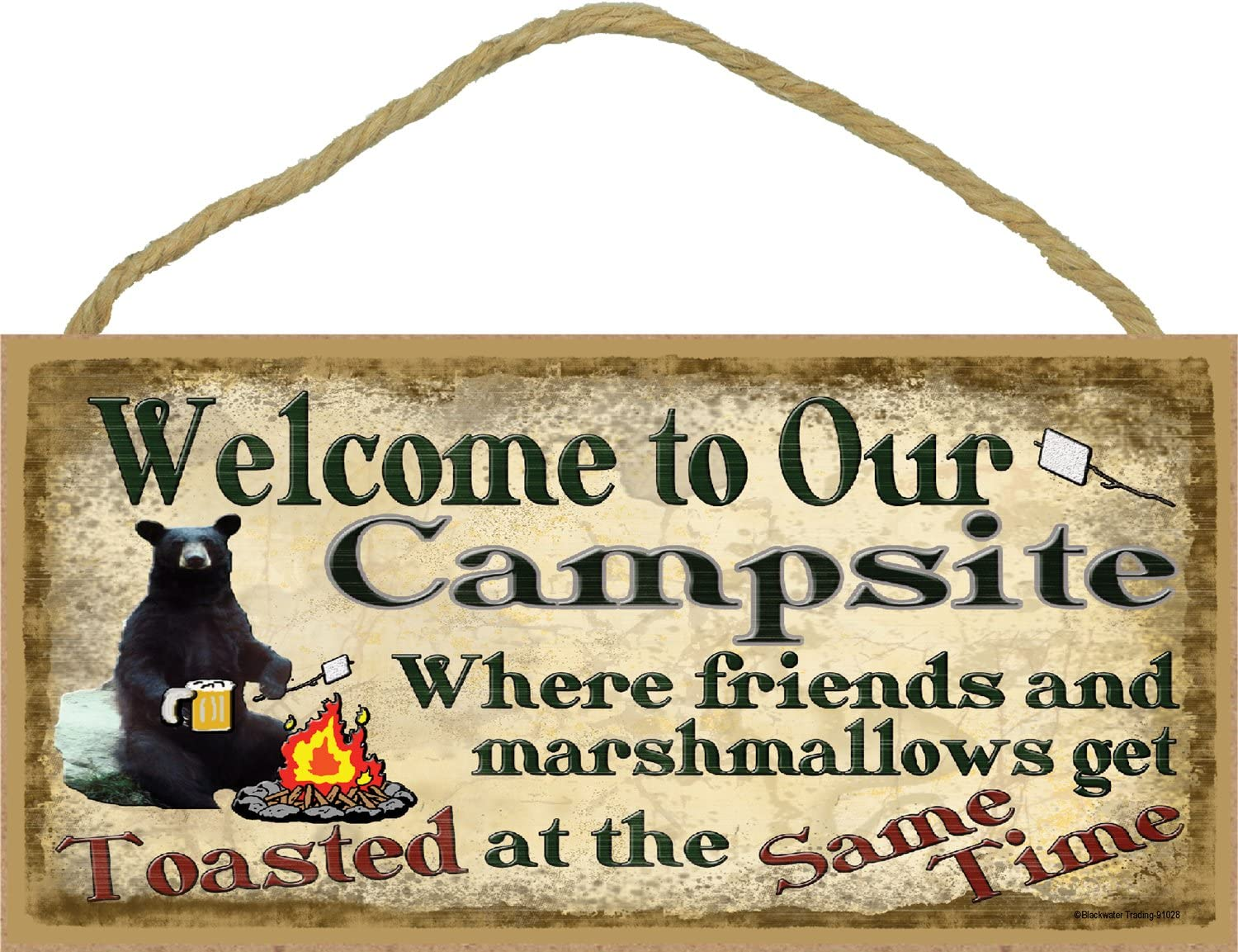 """Campsite Black Bear Where Friends & Marshmallows Get Toasted Sign Camping Wall Plaque 5""""X10"""""""