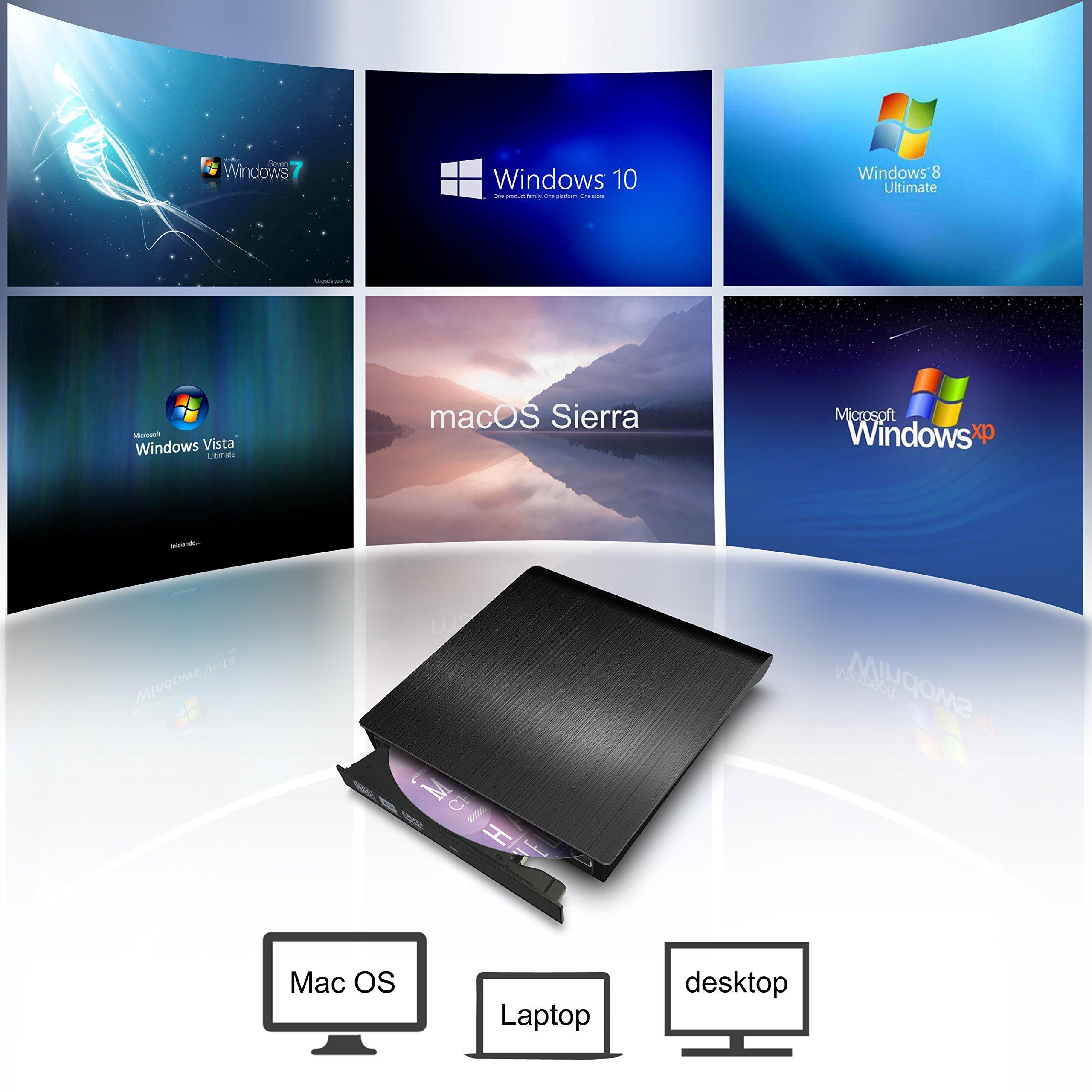 External CD DVD Drive,Valoin High Speed USB 3.0 Data Transfer Super Slim CD DVD-RW DVD ROM Drive for Laptop Desktop MacBook Win 7/8/10/Vista/Mac OS by Valoin (Image #3)