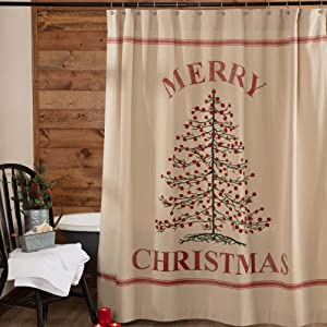 Stenciled Christmas Tree Shower Curtain, 72
