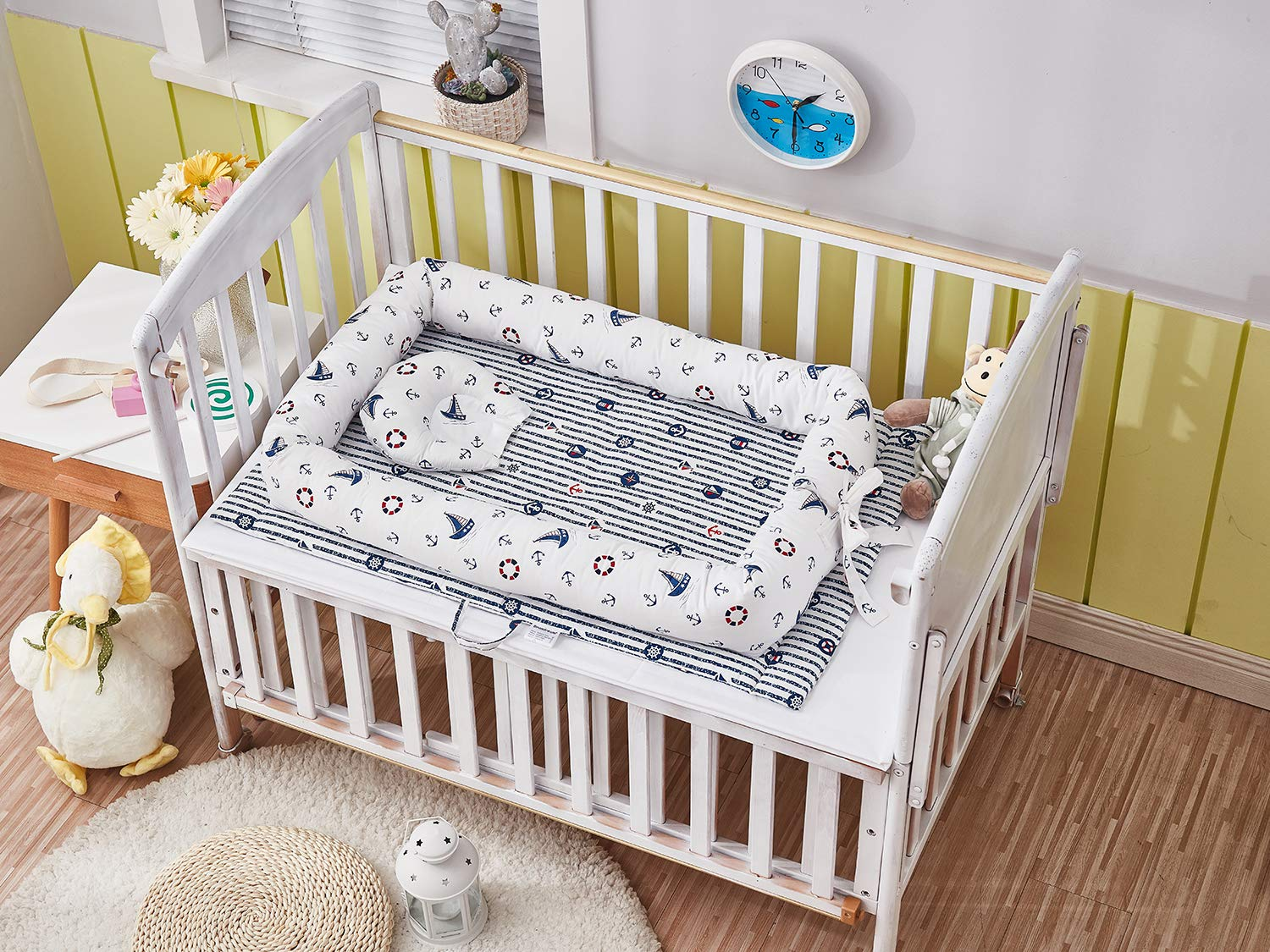 TEALP Baby Bassinet for Bed Newborn Baby Lounger Multifunctional Baby Nest Cotton Portable Crib for Bedroom Travel 0-24 Months