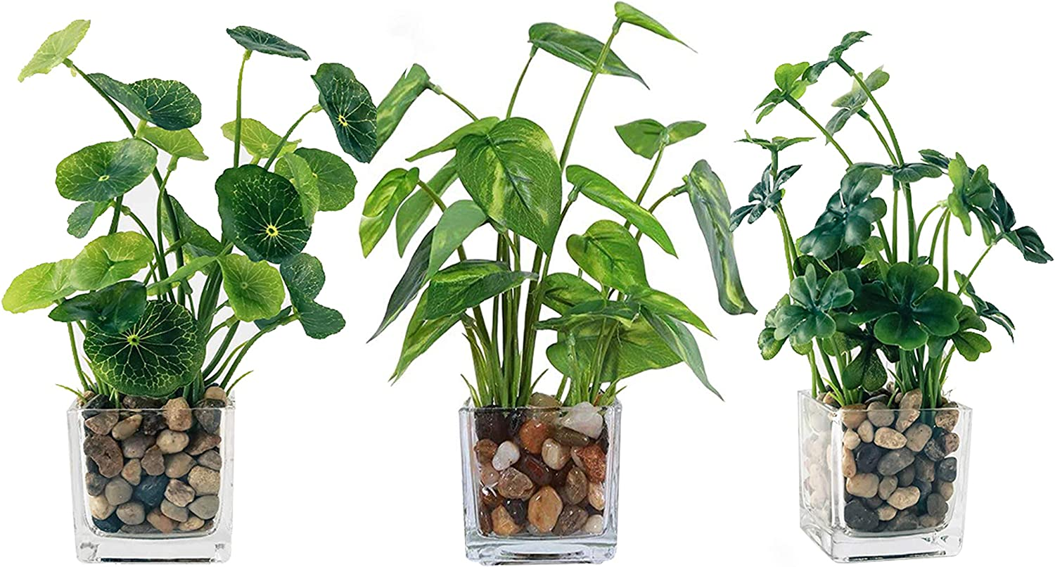 Artificial Plants Faux Plantas Artificiales Decorativas Glass Table Greenery in Pots for Home Table Decor Indoor