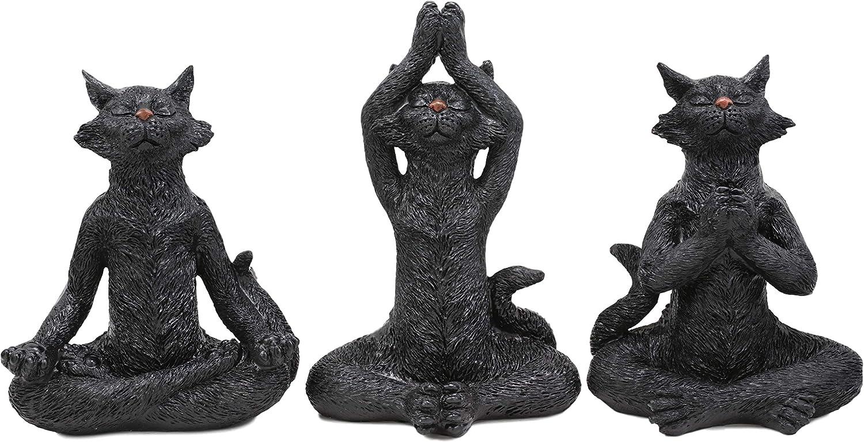 Ebros Larger See Hear Speak No Evil Zen Meditating Yoga Black Cats Figurine Set of 3 Wise Feline Cat Kingdom Buddha Cats Sculptures
