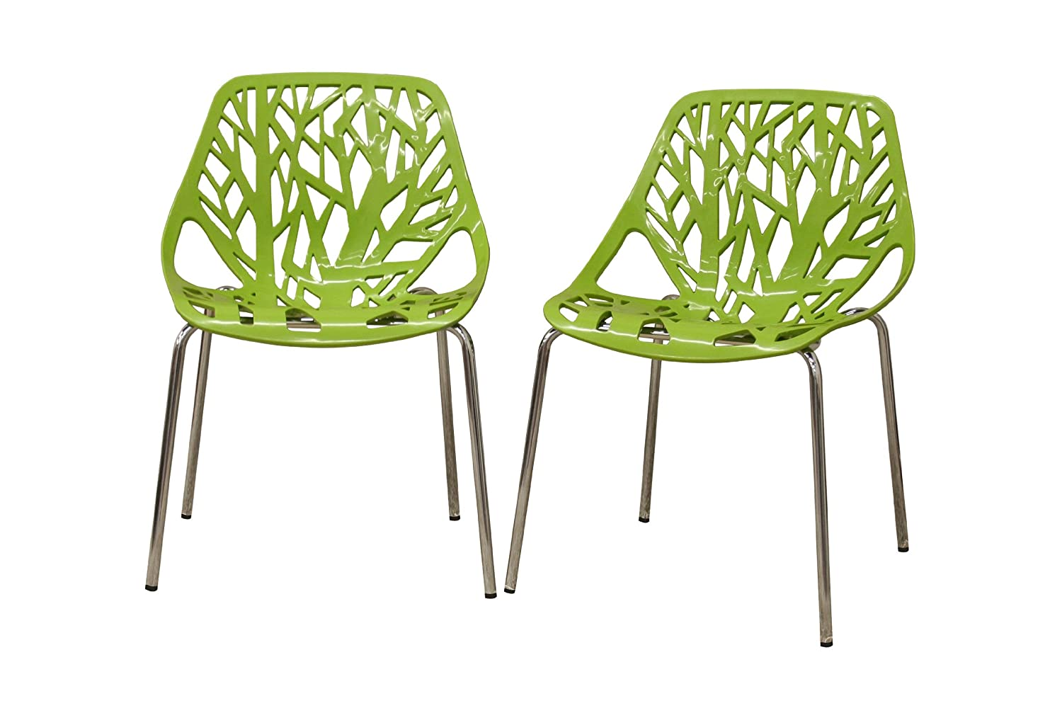 Captivating Amazon.com   Baxton Studio Birch Sapling Plastic Modern Dining Chair, Green,  Set Of 2   Chairs