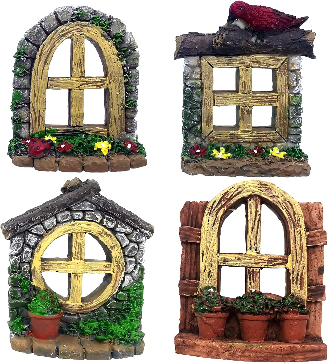 Trasfit Fairy Garden Miniature Door and Windows Accessories for Gnome Home Trees Decoration, Tree Hugger Yard and Garden Sculptures Micro Landscape Decor (Set of 4 Windows)