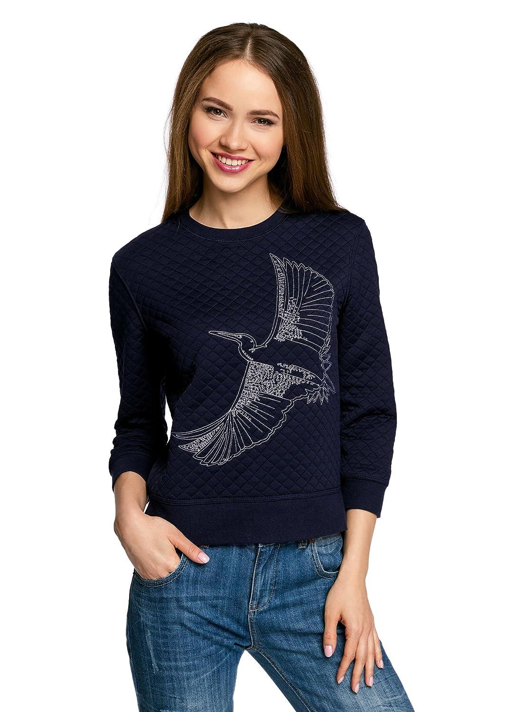 oodji Ultra Femme Sweat-Shirt en Tissu Texturé à Manche 3/4
