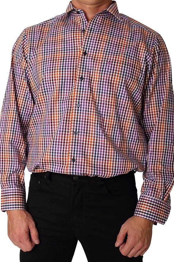 Marvelis Camisa Modern Fit Lila/Azul/Naranja Cuadros ...
