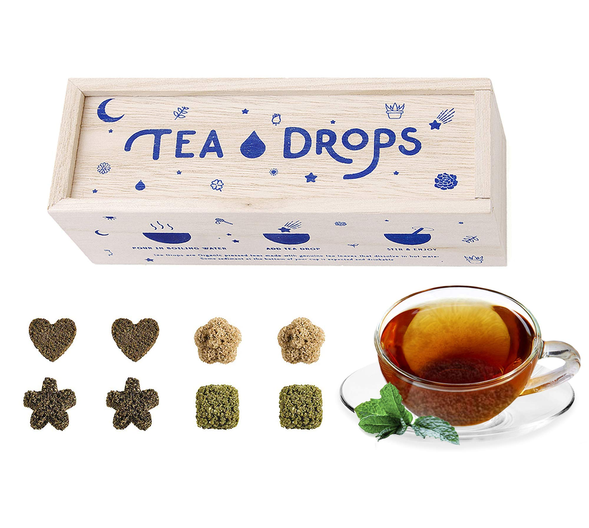 Sweetened Organic Loose Leaf Tea | Standard Herbal Sampler Assortment Box | Instant Pressed Teas Eliminate the Need for Teabags and Sweetener | Tea Lovers Gift | Delicious Hot or Iced | By Tea Drops by Tea Drops
