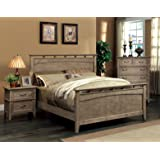 Furniture Of America Vine Rustic Style Solid Wood Bed Eastern King Reclaimed Oak