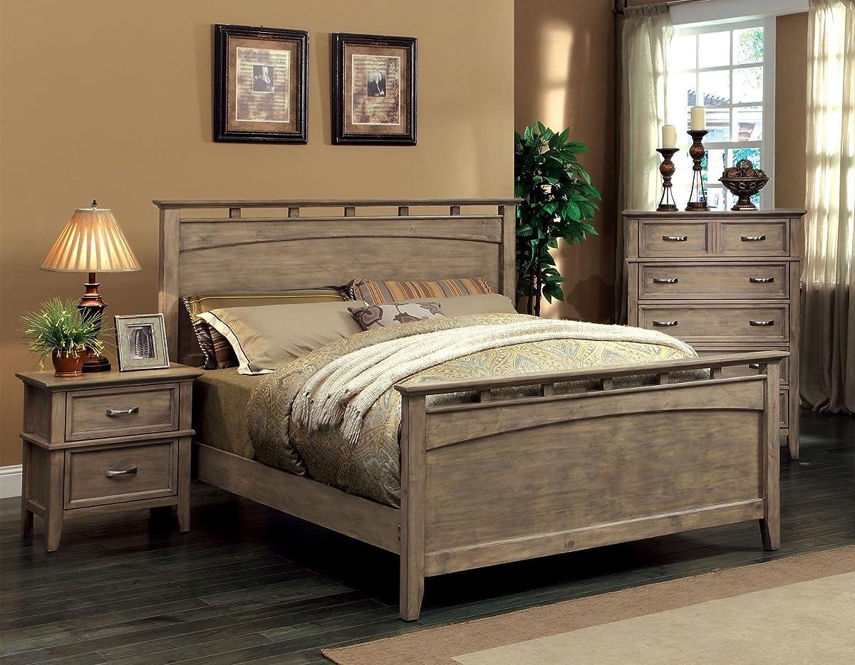 Furniture of America Vine Rustic Style Solid Wood Bed, Eastern King, Reclaimed Oak
