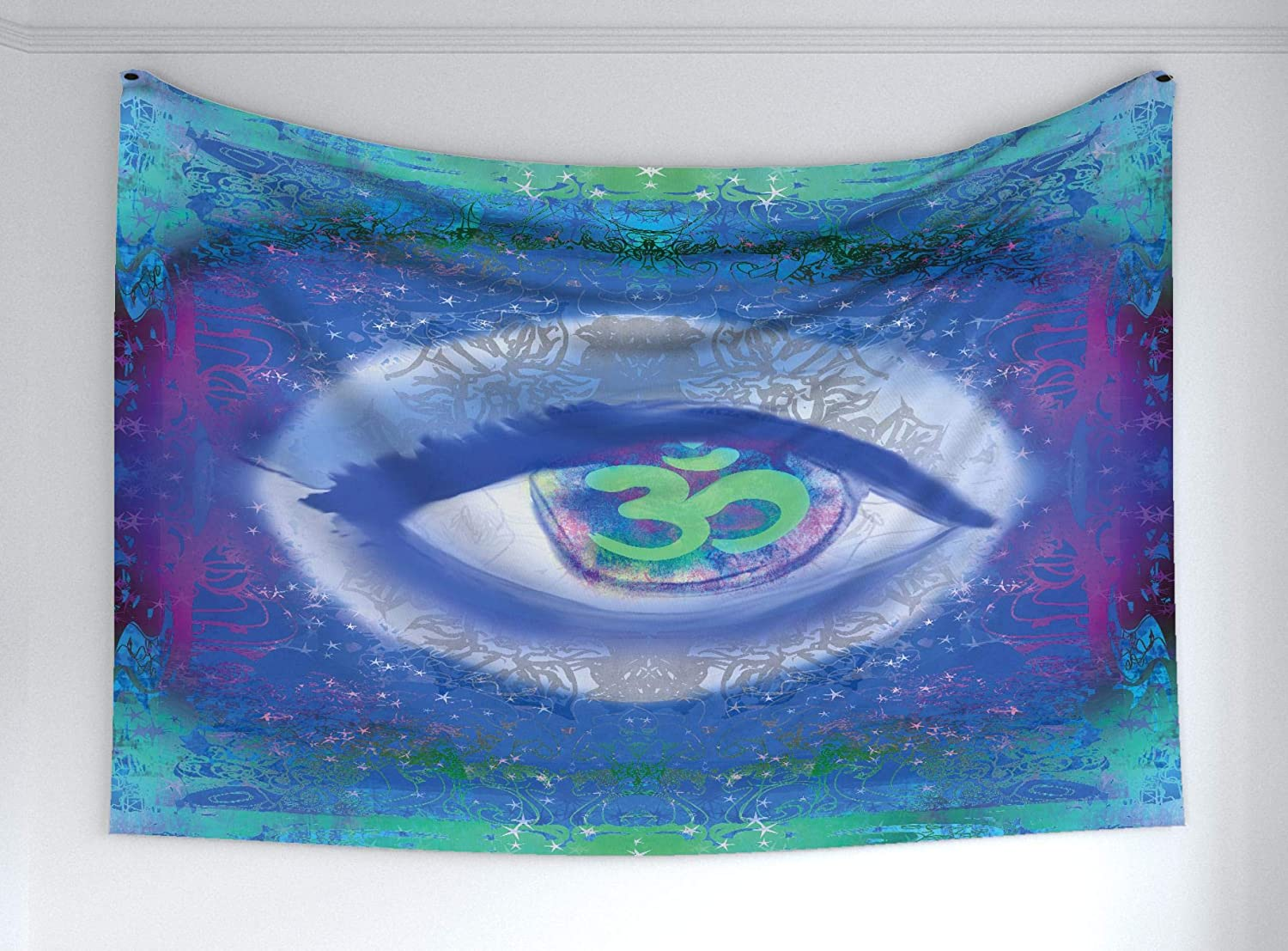 "Ambesonne Eye Tapestry, Mystical Sign Third Eye Mandala Motifs Wisdom Yoga Chakra Enlightenment, Fabric Wall Hanging Decor for Bedroom Living Room Dorm, 60"" X 40"", Mint Green"