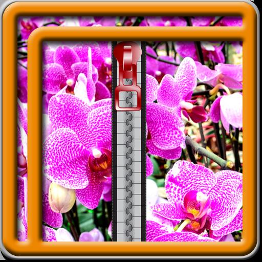 (Zipper Lock Screen Orchid)