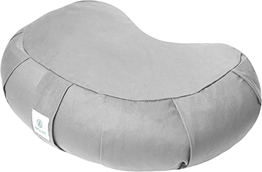 Incline Fit Zafu Yoga Meditation Cushion with Zipper, Round Meditation Pillow Bolster Filled with Buckwheat Hulls with Machine Washable Cotton Cover ...