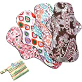 Asenappy XL Heavy Flow Sanitary Reusable Cloth Menstrual Pads | 5 Pack Washable Sanitary Napkins with Charcoal Absobancy…