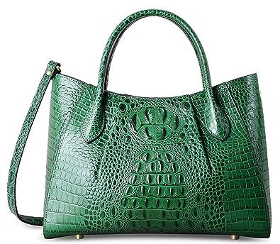62b9a0cfbf PIFUREN Designer Crocodile Top Handle Handbags Womens Genuine Leather Tote  Bags (C69678 Green)