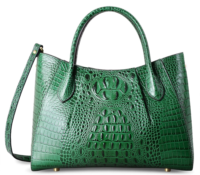 PIFUREN Women Top Handle Satchel Handbags Crocodile Leather Tote Bag C69678(Green)