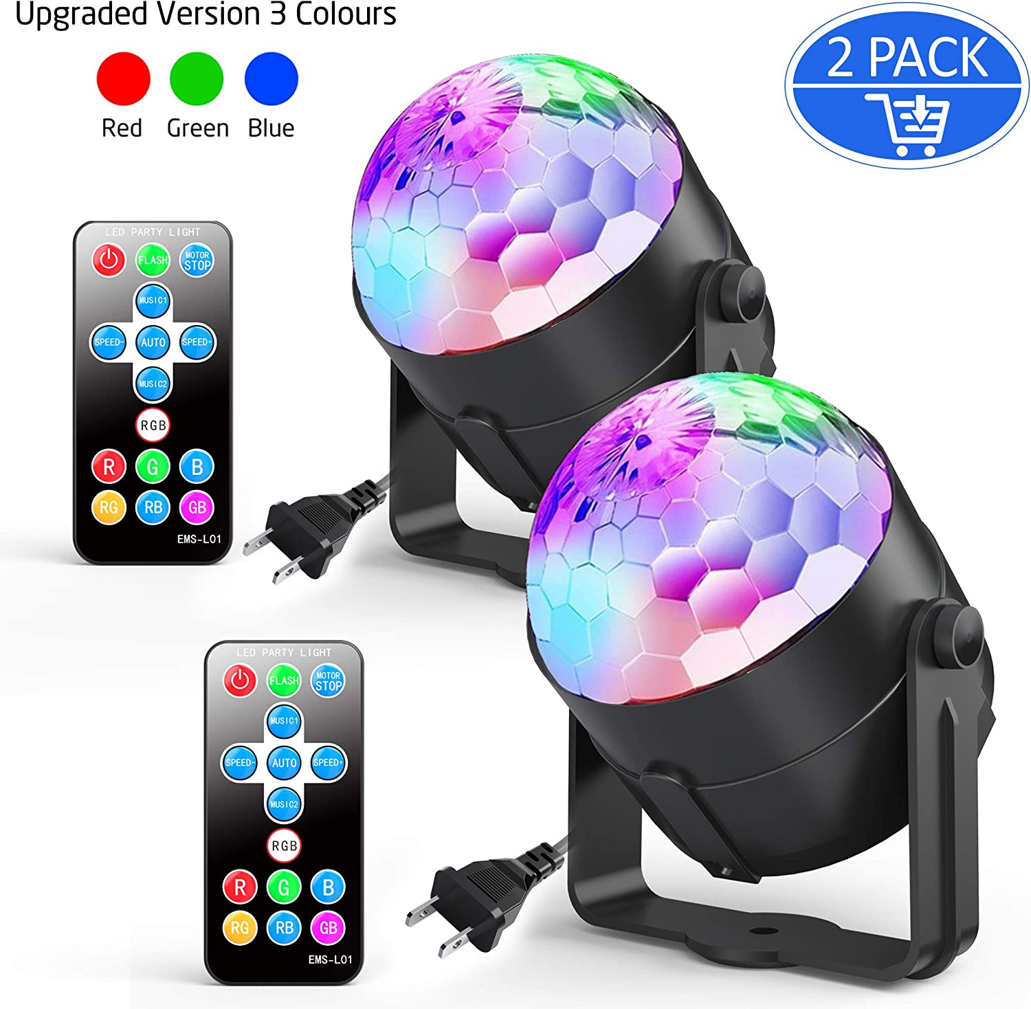 2-Pack Ezire Sound Activated Party Lights with Remote Control Dj Lighting, RGB Disco Ball, Strobe Lamp 5W 7 Modes LED Stage Lights for Home Outdoor Holidays Dance Parties