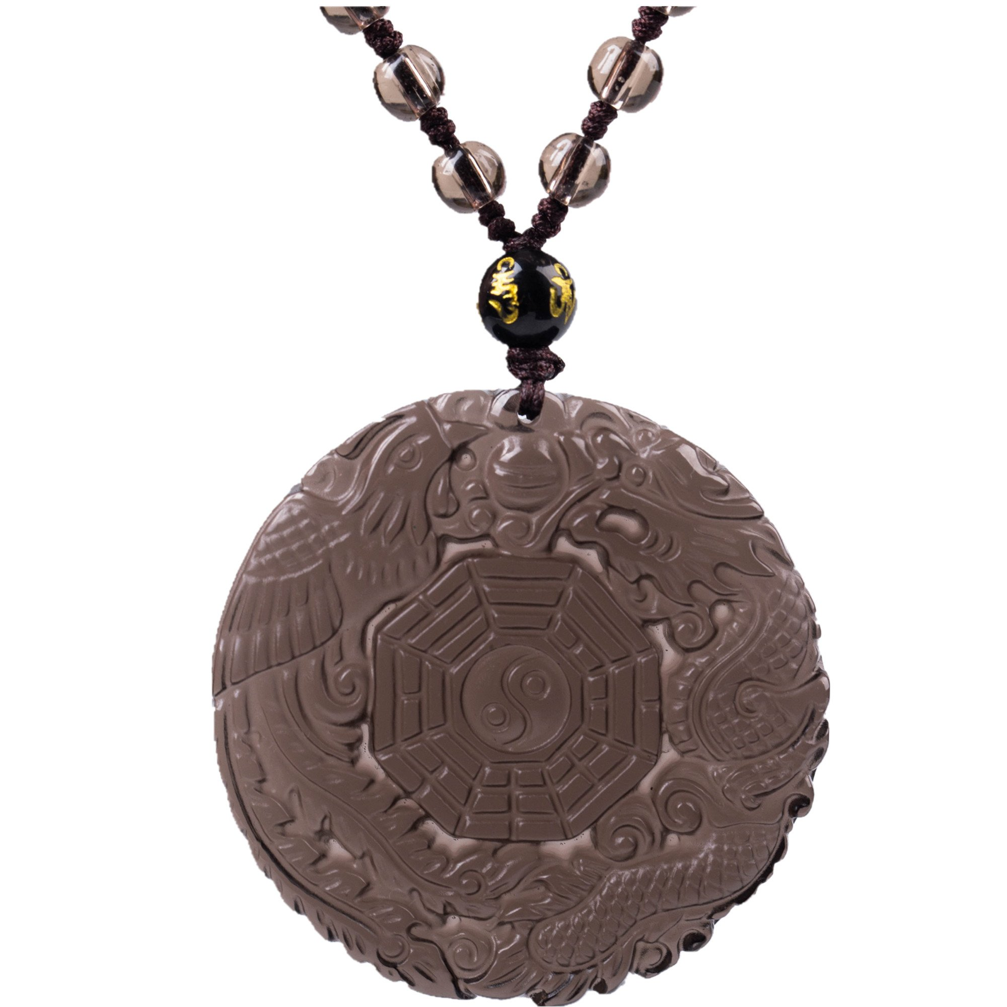 MOHICO Ice Obsidian Pendant Necklace Engraving Dragon and Phoenix Pattern with Bead Glass Bead Chain