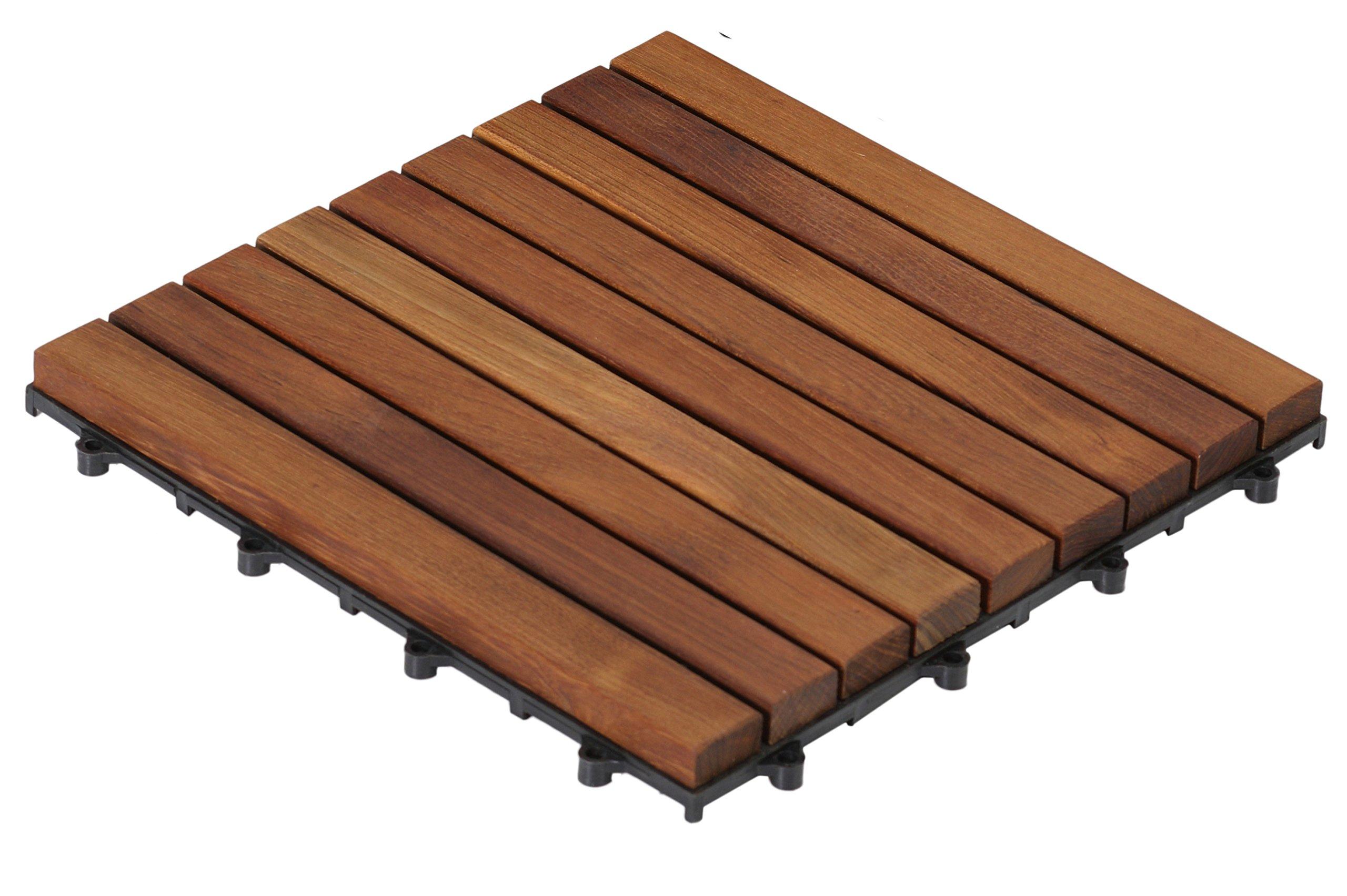 Bare Decor EZ-Floor in Solid Teak Wood, 1 TILE ONLY, Long Slat