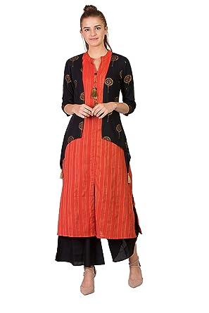 8f44515d71 Amazon.com: Sabhyata Women Designer Straight Kurta Kurti top Tunic 3/4  Sleeves Printed Solid.: Clothing
